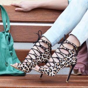 Zara Lace Up Leopard Calf Half Heeled Booties 38